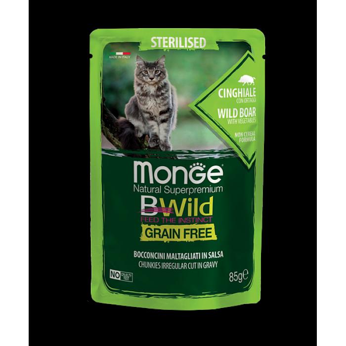 Корм Monge Cat BWild GRAIN FREE из мяса дикого кабана с овощами для стерилизованных кошек, 85г