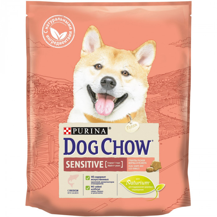 Корм Dog Chow Sensitive Adult для собак с чувствительным пищеварением с лососем, 800 г
