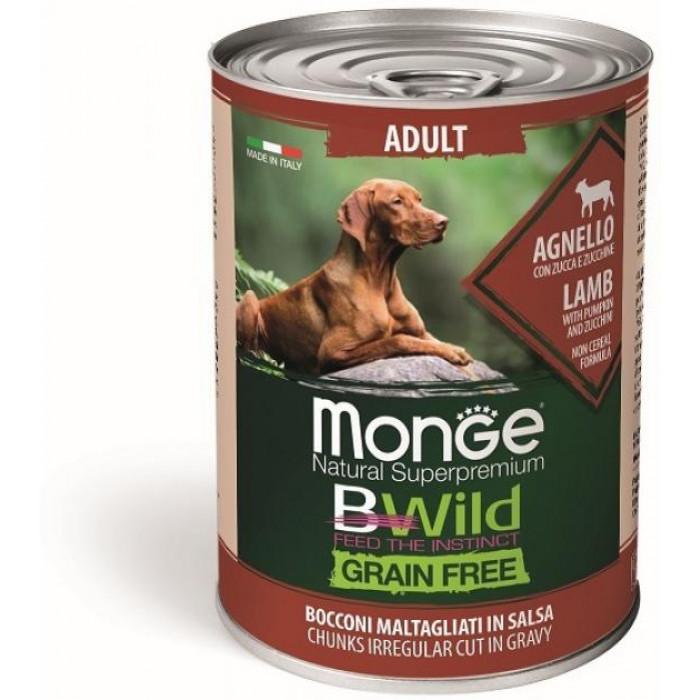 Корм Monge Dog BWild GRAIN FREE беззерновые консервы из ягненка с тыквой и кабачками для взрослых собак всех пород 400г
