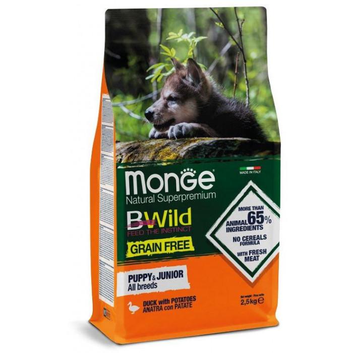 Корм Monge Dog BWild GRAIN FREE беззерновой корм из мяса утки с картофелем для щенков всех пород 2,5 кг