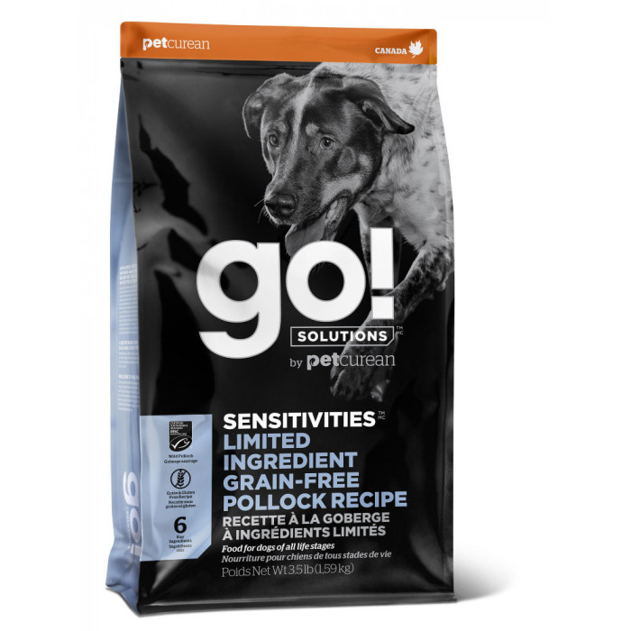 Корм Go! SENSITIVITIES Limited Ingredient Grain-Free Pollock Recipe (беззерновой) для собак с чувствительным пищеварением с минтаем, 1.59 кг