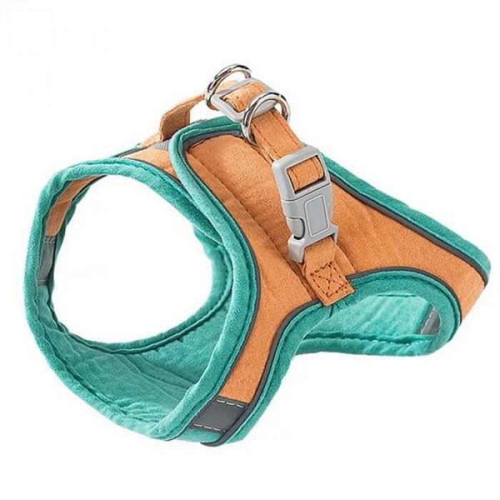 Комплект шлейка и поводок бархатистый, размер L (обхват груди 32-36 см) зелено-оранжевый