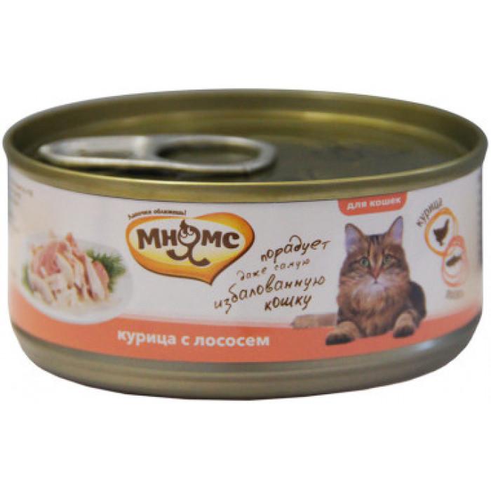 Корм Мнямс консервы для кошек Курица с лососем в нежном желе, 70 г