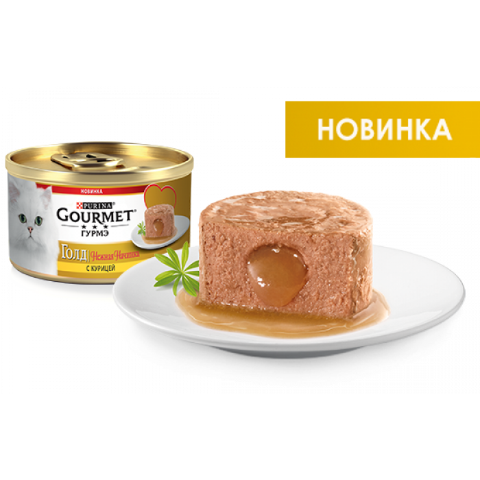 """Консервы """"Gourmet Gold нежная начинка"""" для кошек с курицей, 85 г"""