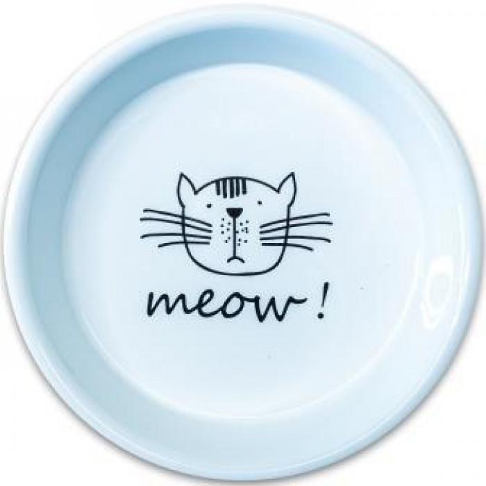 КерамикАрт миска керамическая для кошек MEOW! 200мл, Белая