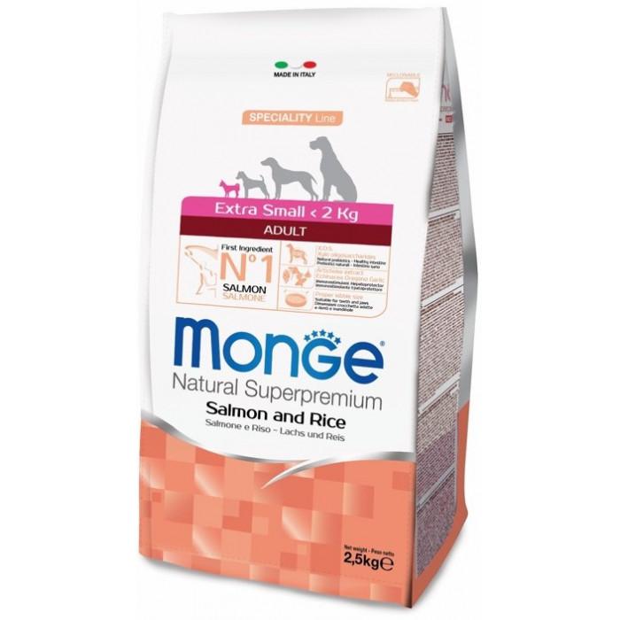 Корм Monge Dog Speciality Extra Small для взрослых собак миниатюрных пород лосось с рисом, 2.5 кг