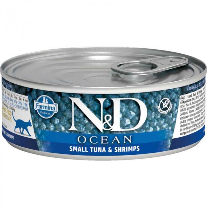 Корм Farmina N&D Ocean для кошек с тунцом и креветками 80г
