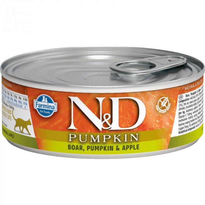 Корм Farmina N&D Pumpkin консервированный корм для кошек, кабан и яблоко с тыквой 80г