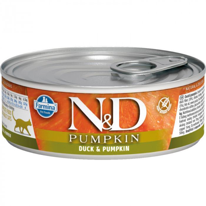 Корм Farmina N&D Pumpkin консервированный корм для кошек, утка с тыквой 80г