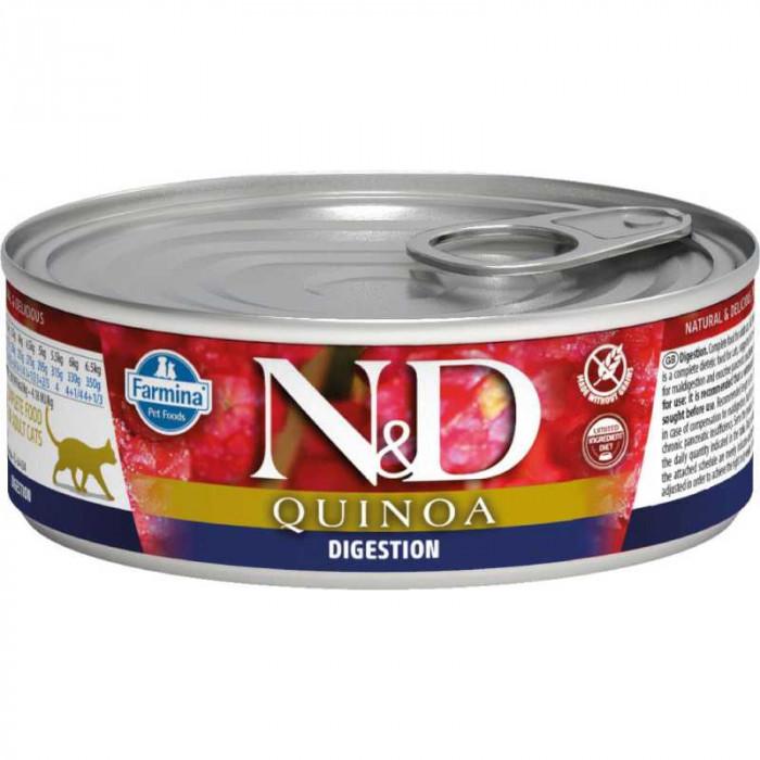 Корм Farmina N&D Quinoa Wet Digestion консервированный корм для кошек, поддержка пищеварения, ягненок, киноа 80г