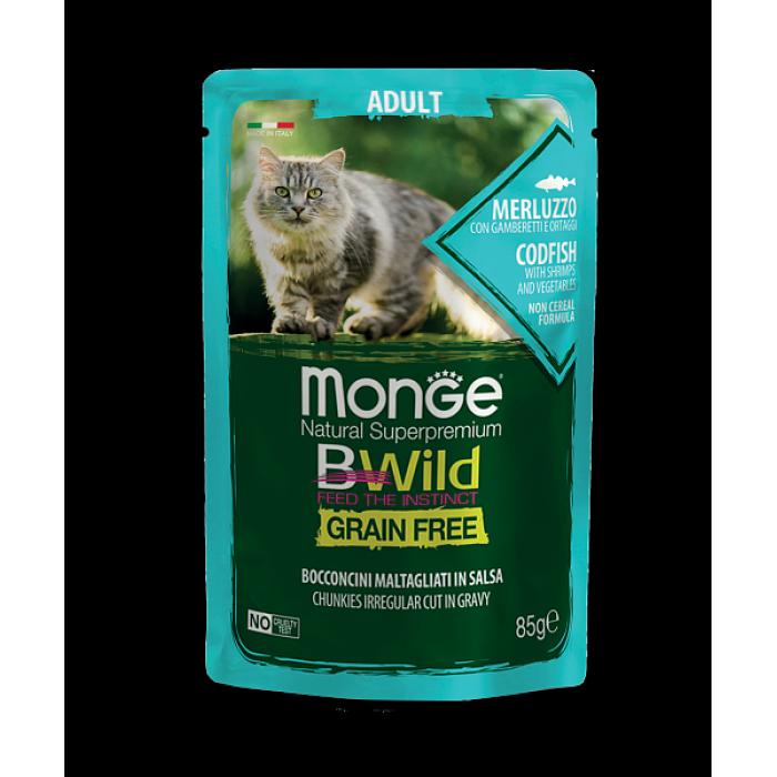 Корм Monge Cat BWild GRAIN FREE из трески с креветками и овощами для взрослых кошек, 85г