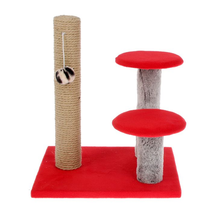 Когтеточка Lowcost Стоблик с двумя грибами, 43*36*31 см