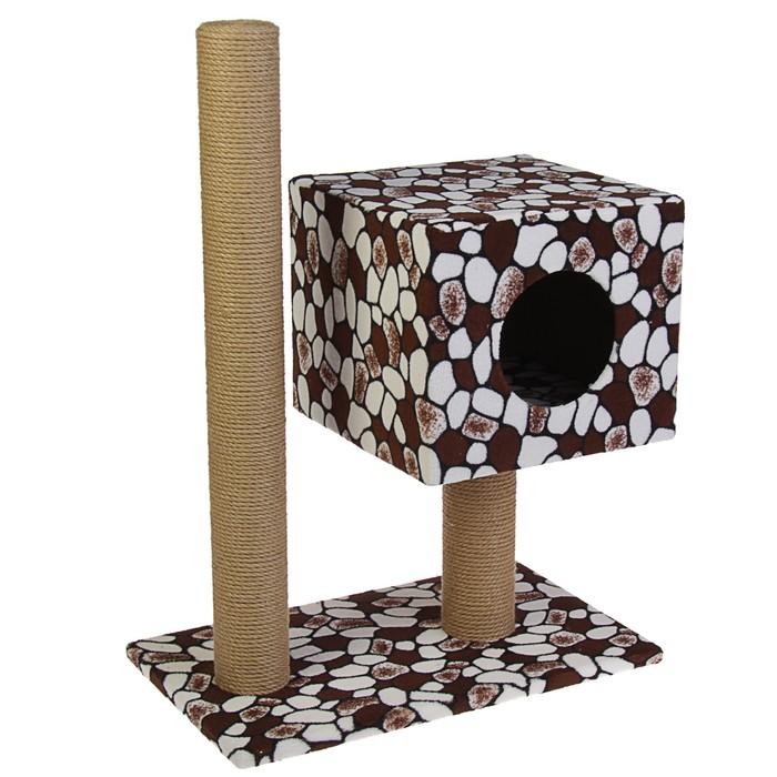 Когтеточка-домик Кубизм №4, (дом на подставке, 2 когтеточки, лежак), джут, 35*30*85 см