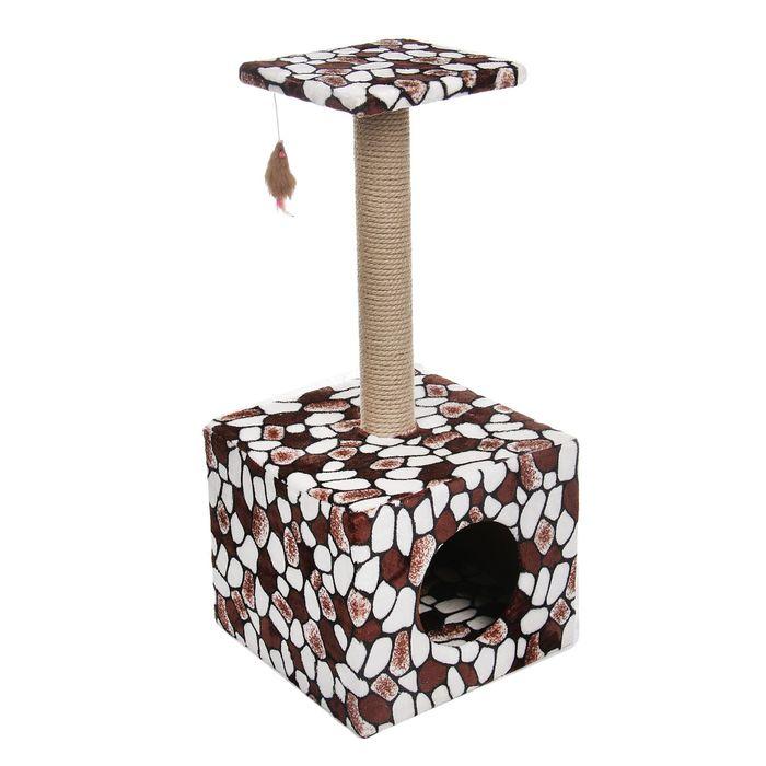 Когтеточка-Столбик куб с площадкой и игрушкой, 35*30*85 см