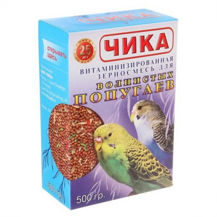 """Корм """"Чика"""" зерновой витаминизирован для волнистых попугаев, 500 г"""