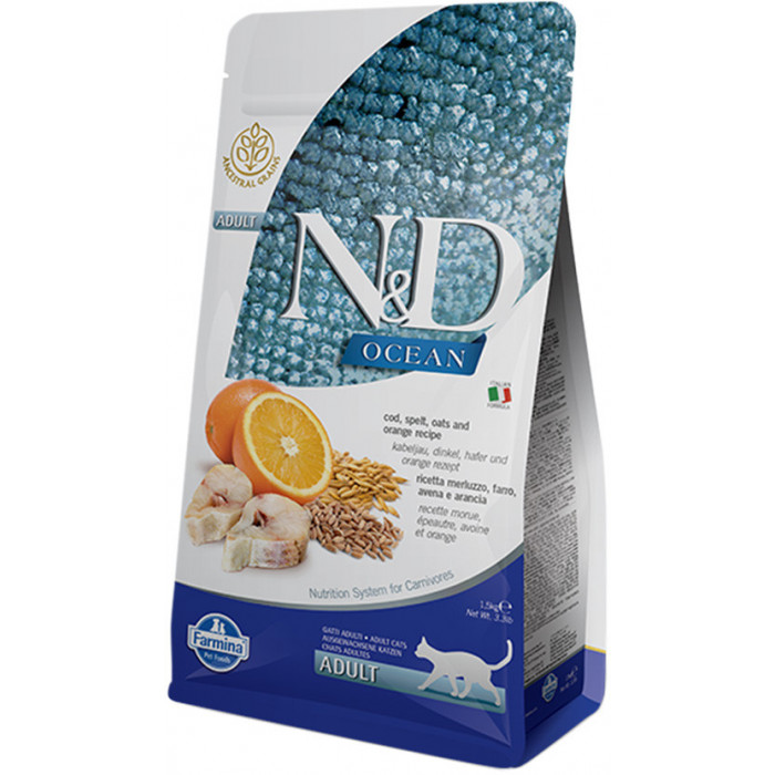 Корм Farmina N&D (Low Grain) Codfish & Orange Adult для кошек с низким содержанием зерна треска с апельсином, 5 кг