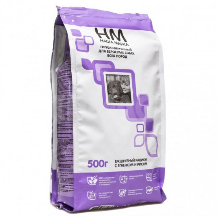 Корм Наша Марка для взрослых собак с ягненком и рисом, 500 г