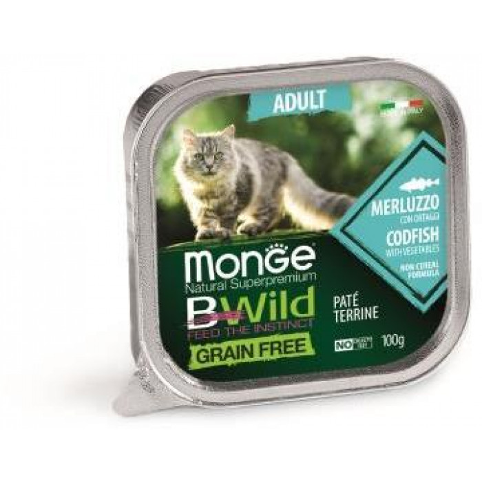 Корм Monge Cat BWild GRAIN FREE беззерновые консервы из трески с овощами для взрослых кошек, 100 г