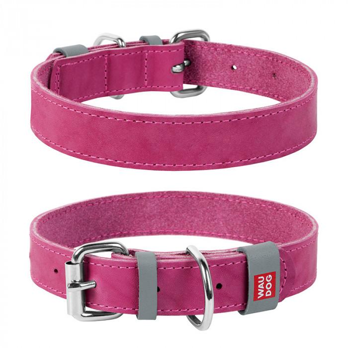 COLLAR ошейник Waudog Classic кожа, металлическая пряжка (шир. 25мм, дл. 38-49см) розовый