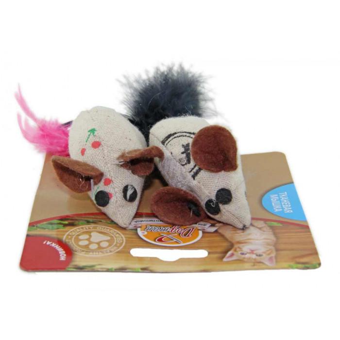 Мышка тканевая с кошачьей мятой и пером 7 см, 2 шт
