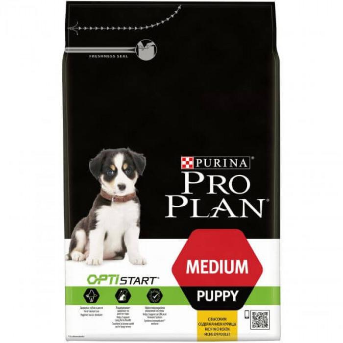 Корм PRO PLAN PUPPY Medium OPTI START (для поддержания природного иммунитета) для щенков средних пород с курицей, 1.5 кг