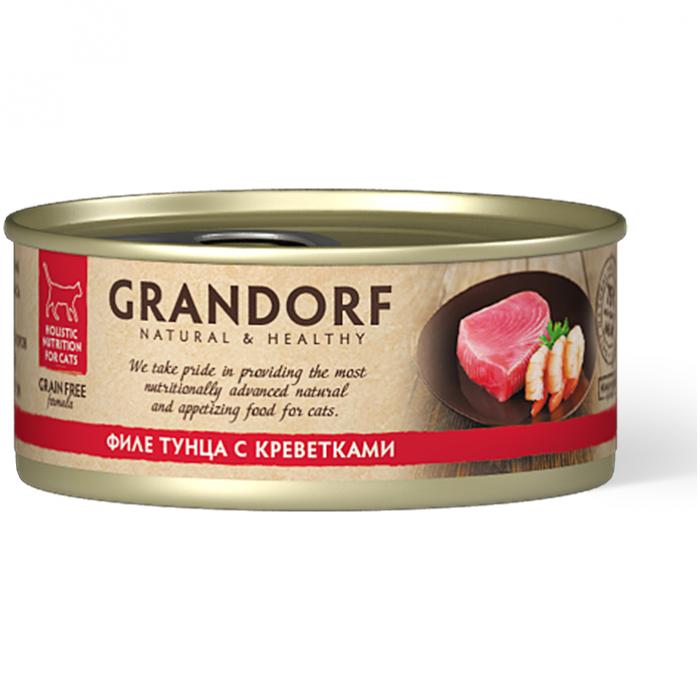 Корм GRANDORF Филе тунца с креветками для кошек всех возрастов, 70 г