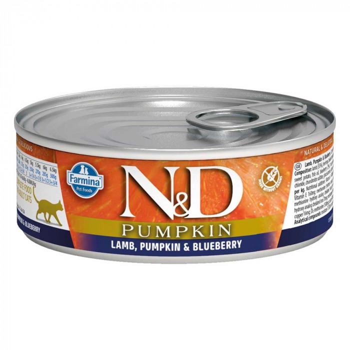 Корм Farmina N&D Pumpkin консервированный корм для кошек, ягненок, черника с тыквой 80г