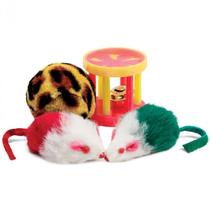 Набор игрушек XW0046 для кошек (мяч, 2 мыши, барабан), d40мм; 45мм; 40мм