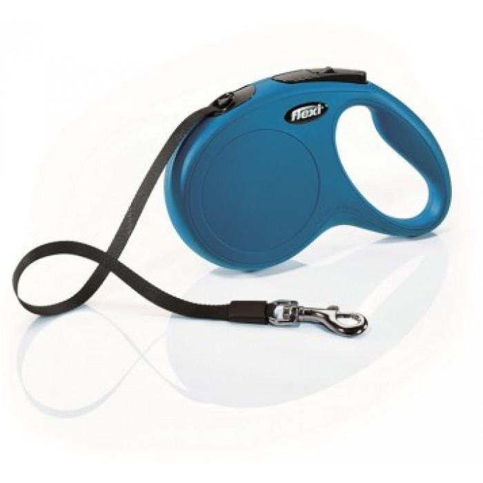 Поводок-рулетка flexi рулетка New Classic M (до 25 кг) 5 м лента синяя