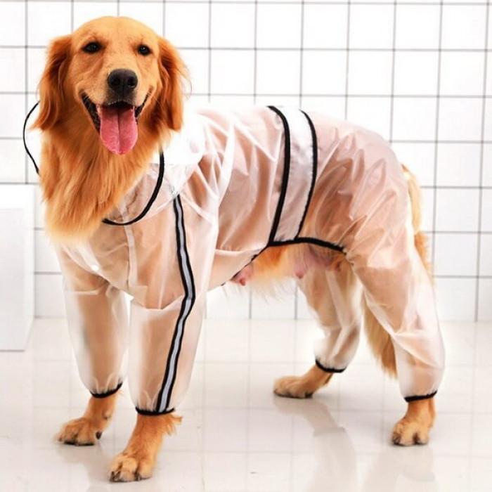 Прозрачный дождевик для собак Hoopet с капюшоном, размер 2XL (длина спины 46,5 см)