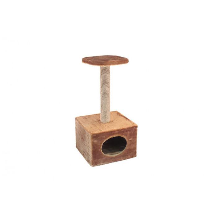 """Домик-когтеточка ЧИП"""" куб малый с полкой (столбик джут) 36*35*h71см"""