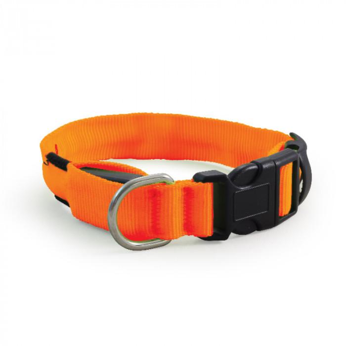 Ошейник светодиодный NIGHT CITY неоновый оранжевый XL, 25*510-610мм