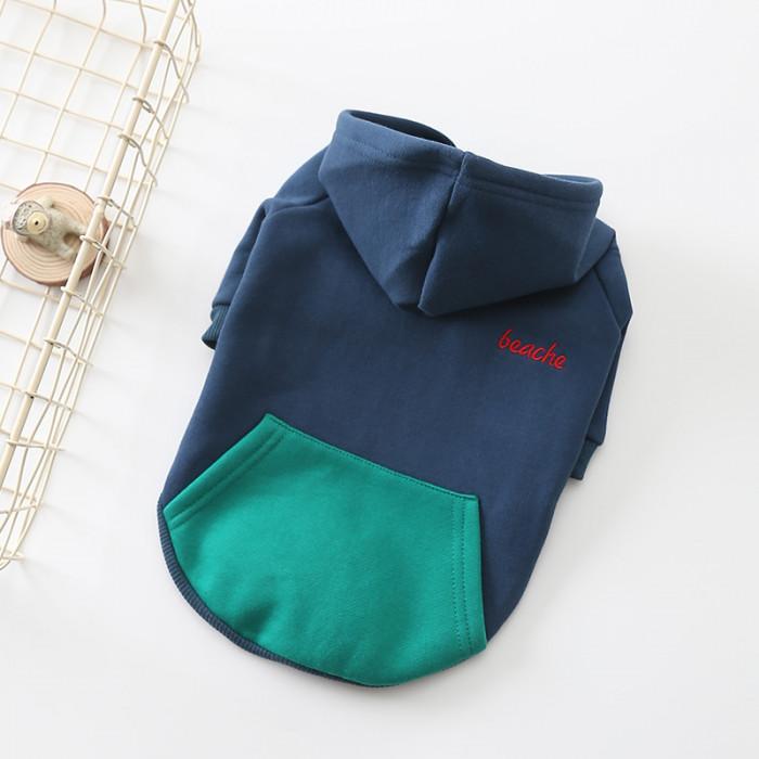 """Свитер с капюшоном """"beache"""", цвет синий, размер S (длина спины 25 см)"""