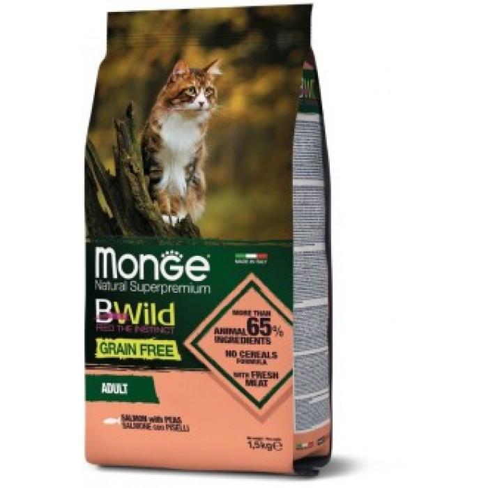 Корм Monge Cat BWild GRAIN FREE беззерновой корм из лосося и гороха для взрослых кошек 1,5 кг