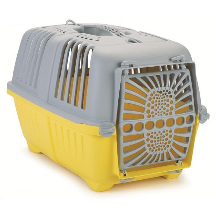 Переноска Pratiko 48*31*33 см с пластиковой дверцей серо-желтая
