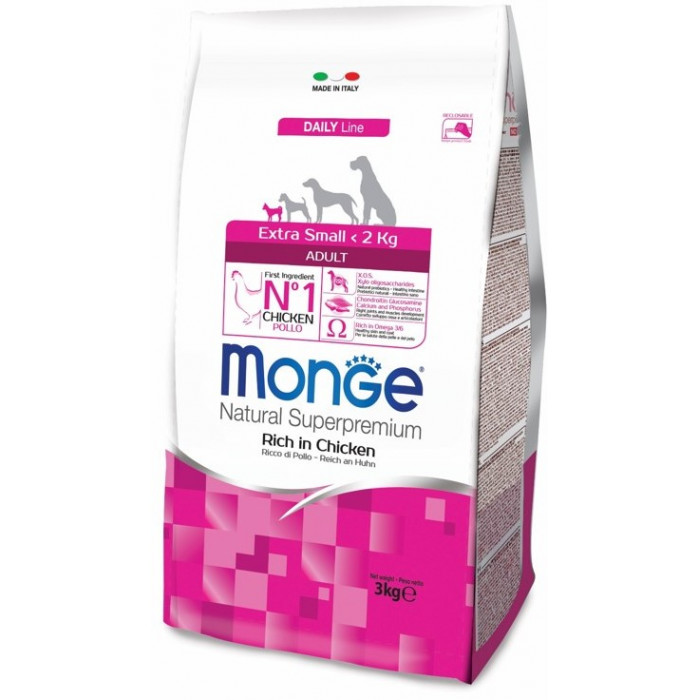 Корм Monge Dog Extra Small корм для взрослых собак миниатюрных пород с курицей, 3 кг