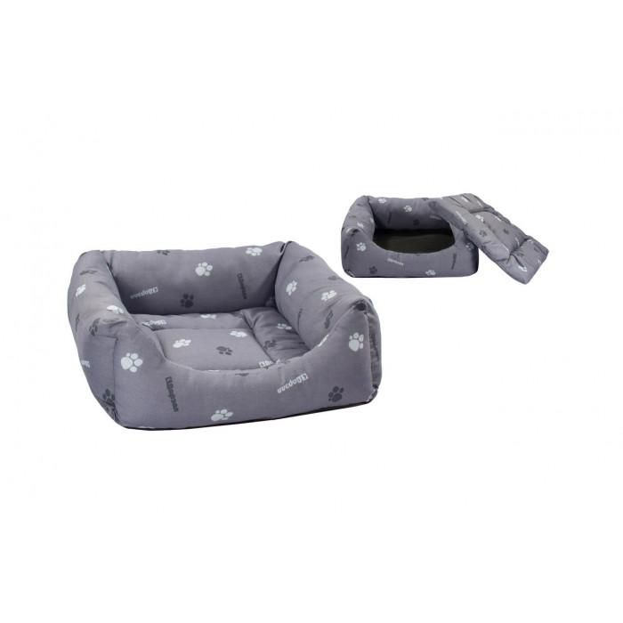 Лежак квадратный пухлый 33*33*13см с подушкой (хлопок разноцв., синтепух + периотек)