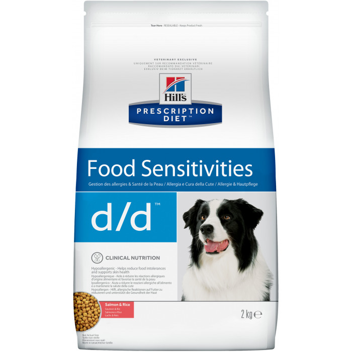 Корм Hill's Prescription Diet d/d Food Sensitivities для собак диета для поддержания здоровья кожи и при пищевой аллергии лосось и рис, 12 кг