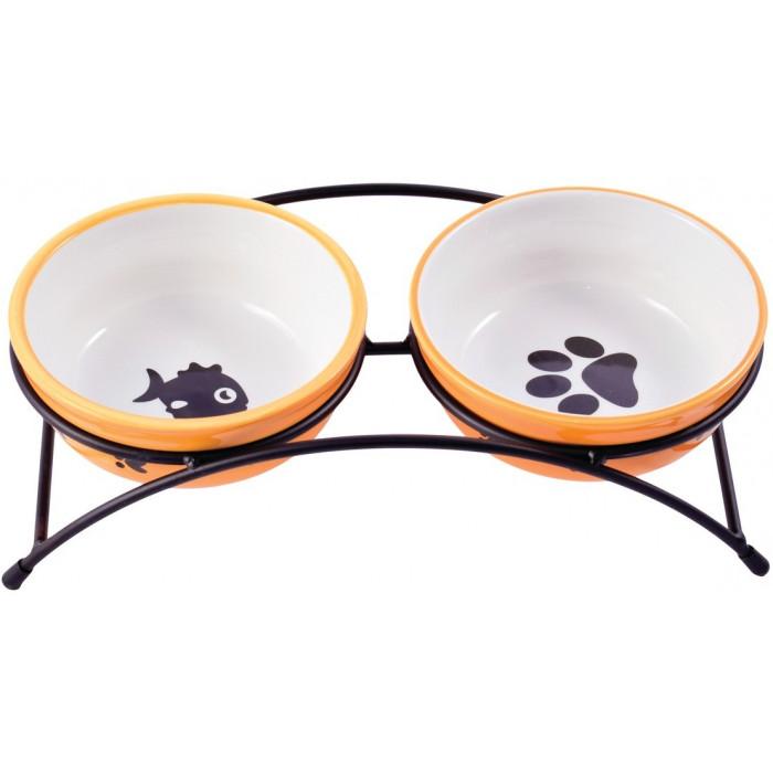 Миска керамическая для собак и кошек двойные 2x290мл оранжевые