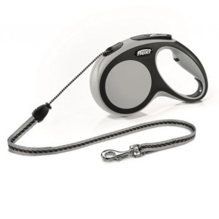 Поводок-рулетка Flexi New Comfort М для собак трос до 20 кг, 5 м черный/антрацит