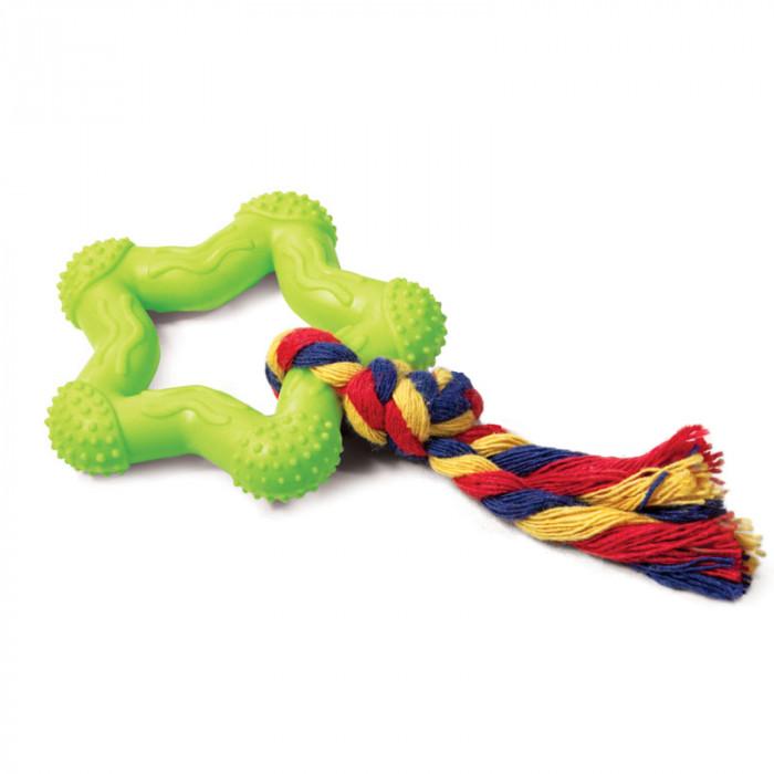 """Игрушка для собак из ц/литой резины """"Звездочка с веревкой"""", d75/150мм"""