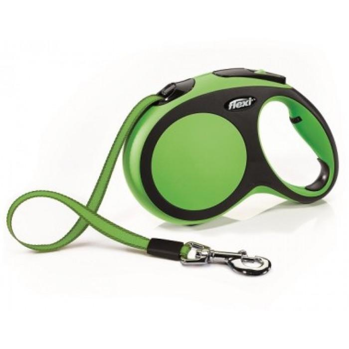 Поводок-рулетка Flexi New Comfort L для собак лента до 60 кг, 5 м черный/зеленый