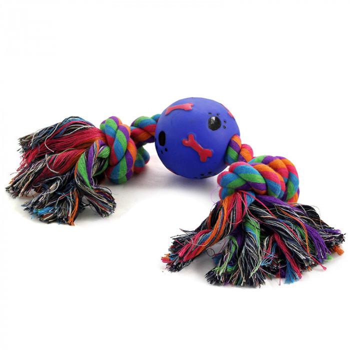 """Игрушка для собак """"Веревка, 2 узла и мяч"""", d65/300мм"""