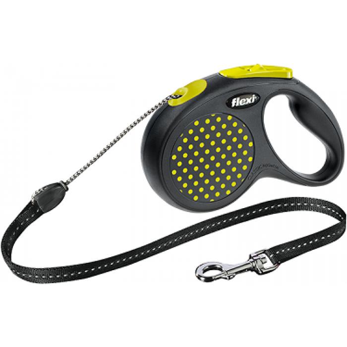 Поводок-рулетка Flexi Design М для собак трос до 20 кг, 5 м черный/желтый горох