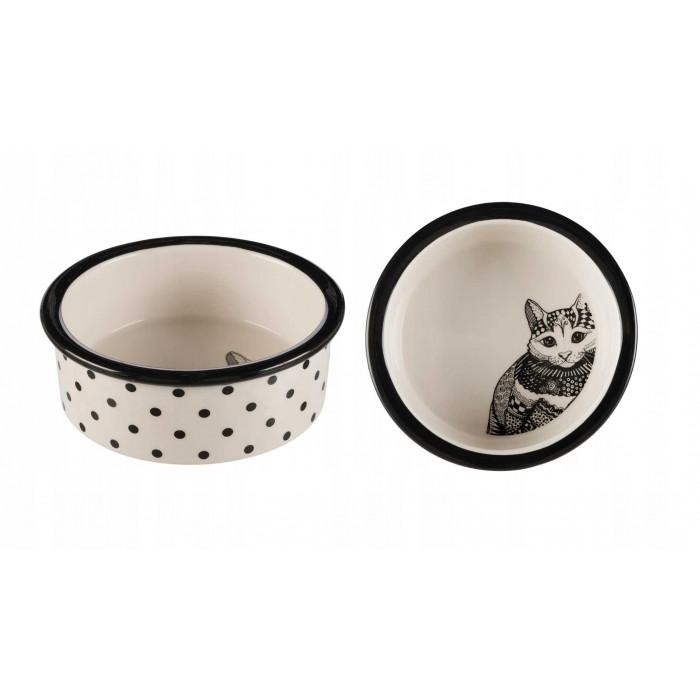 Миска керамическая, белая/черная 0.3 л