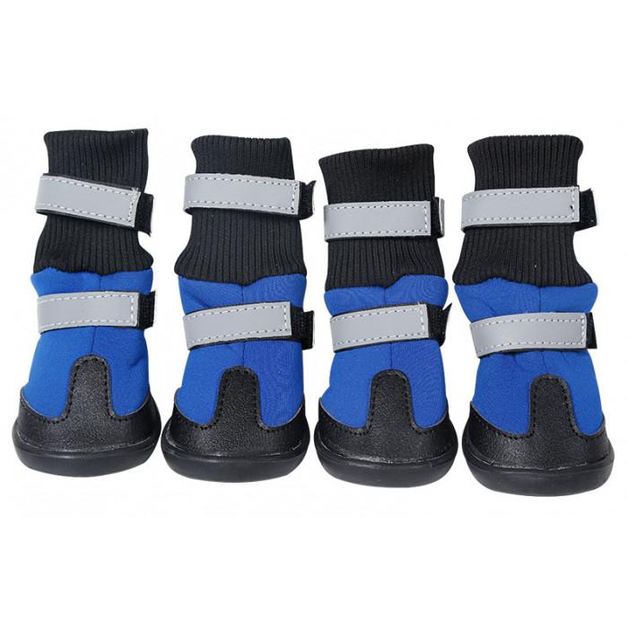 Обувь для собак с двумя застежками, размер L (7,6х7,3 см), цвет синий