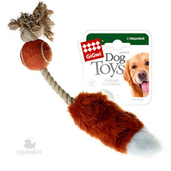 """Gigwi Игрушка для собак """"лисий хвост с пищалкой"""" 40 СМ"""
