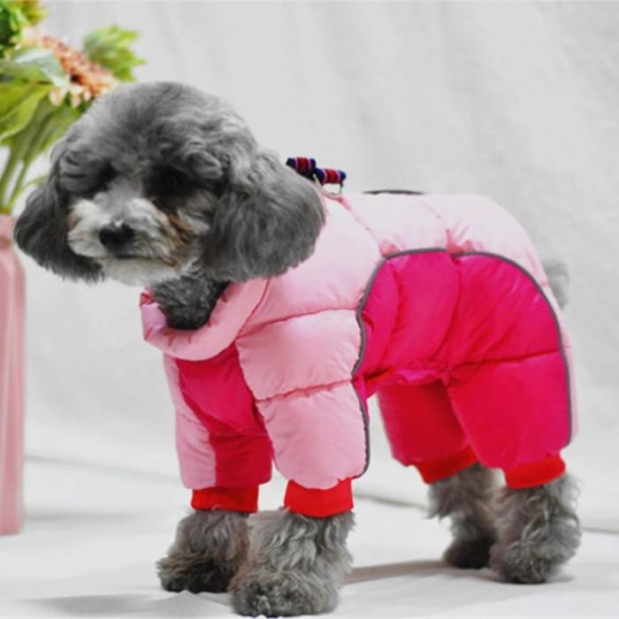 Комбинезон зимний, цвет розовый, размер L (длина спины 32 см)