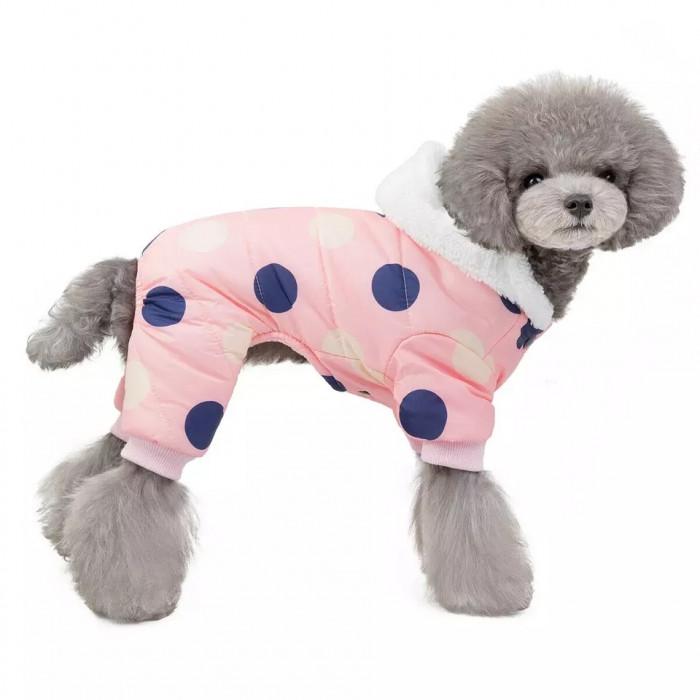 """Комбинезон зимний """"Горошек"""", цвет розовый, размер L (длина спины 30 см)"""