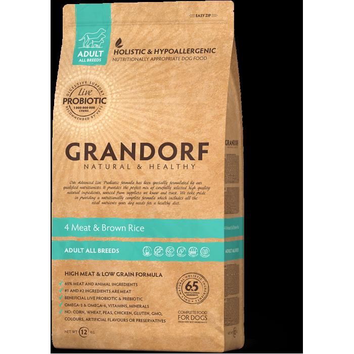 Корм Grandorf Adult All Breeds для собак всех пород (низкое содержание зерна) с ПРОБИОТИКАМИ, 4 вида мяса с рисом, 1 кг